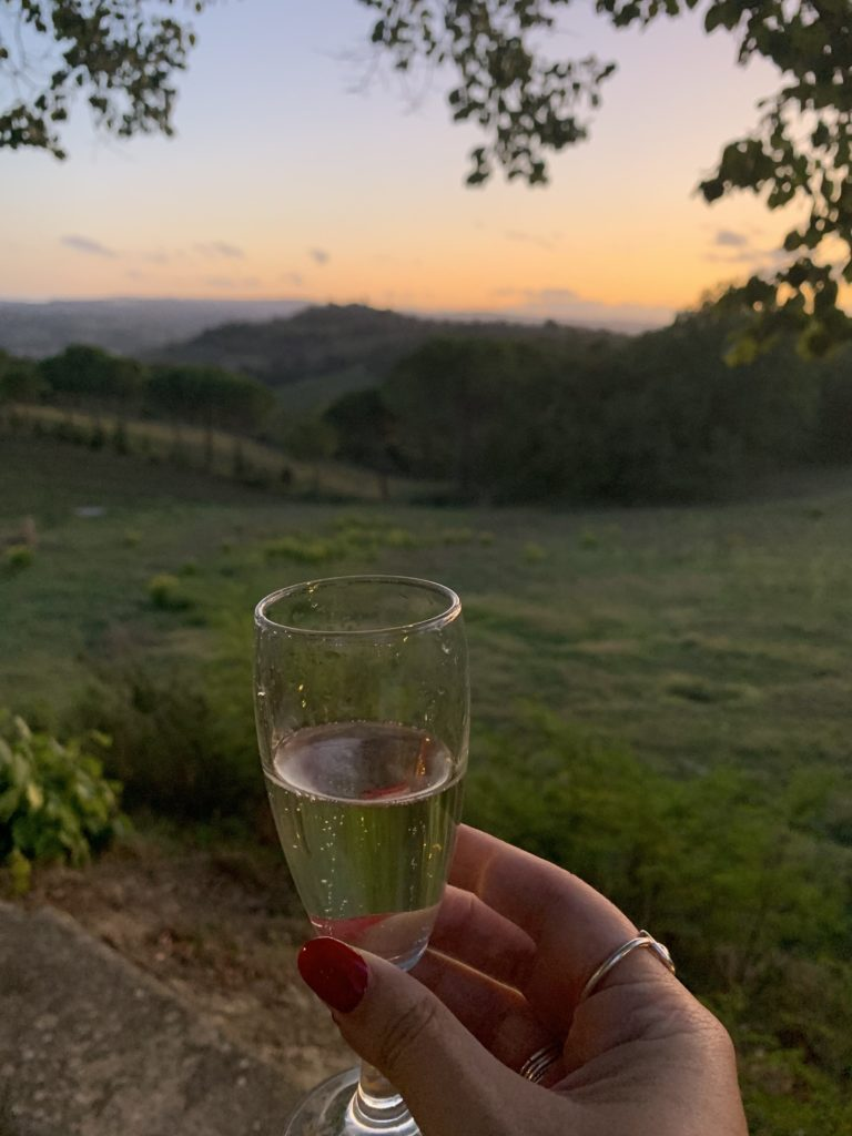 Hand holding a glass in the Tuscan Countryside